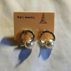 Crystal & Pearl (not real) earrings